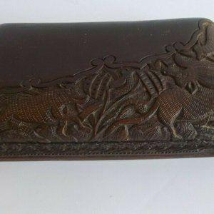 Antique Carved Wood Box Folk Art Wild Boar Dk Wood